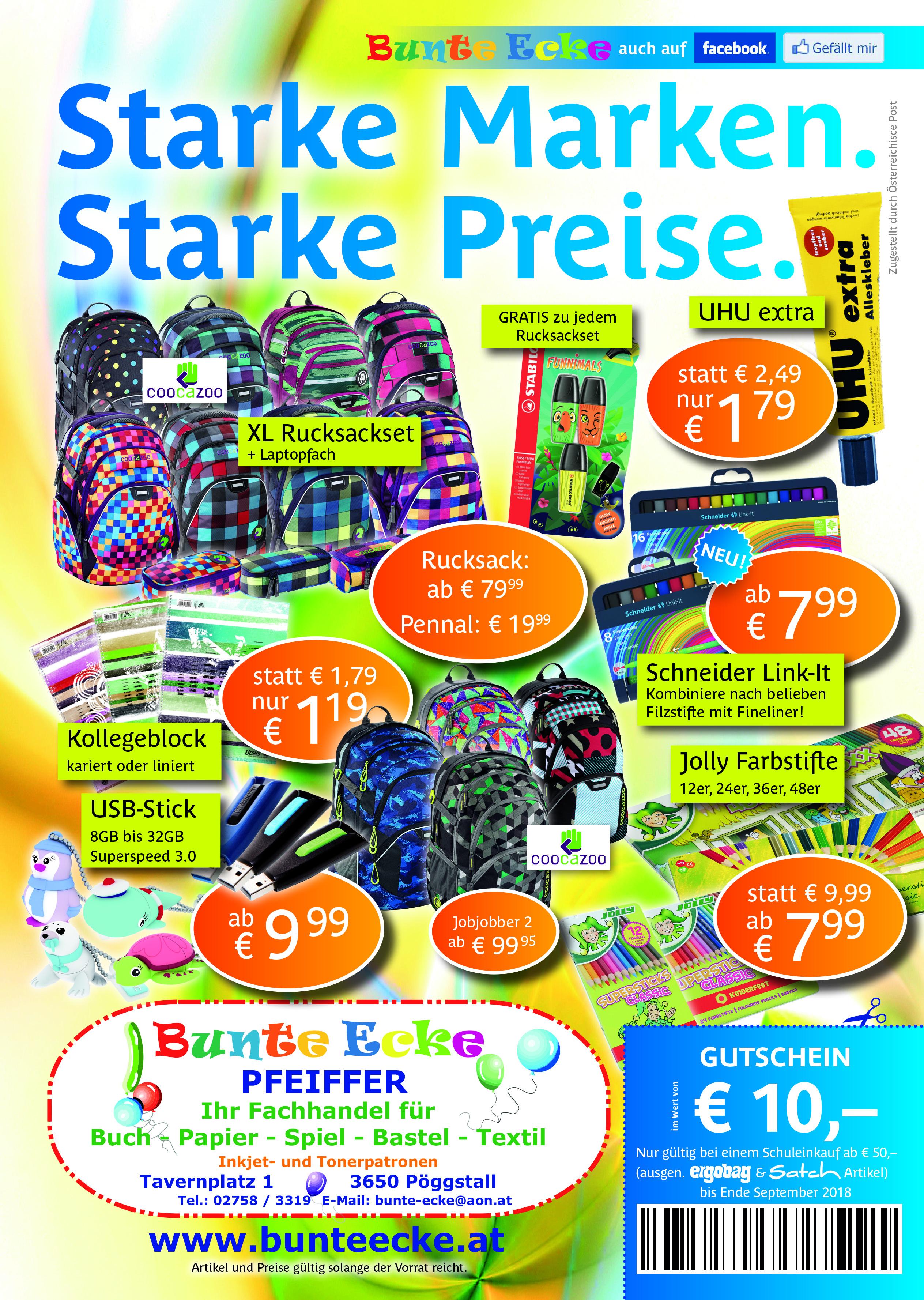 Schulartikel zu Aktionspreisen mit € 10.- Gutschein