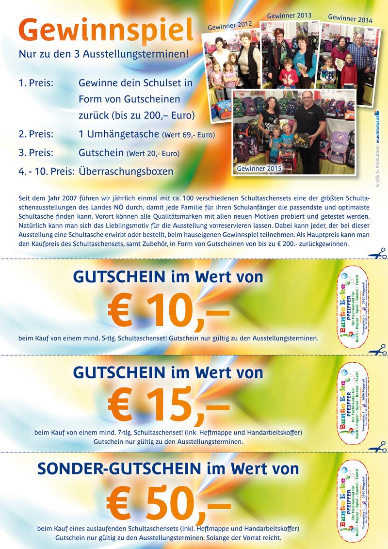 Unser hauseigenes Gewinnspiel! 1. Preis: Gewinne Dein Schulset in Form von Gutscheinen zurück!